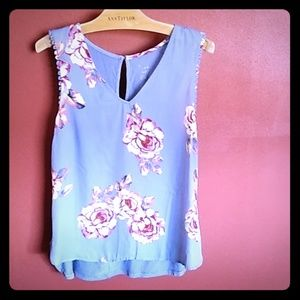 Floral Light Blue sleeveless blouse